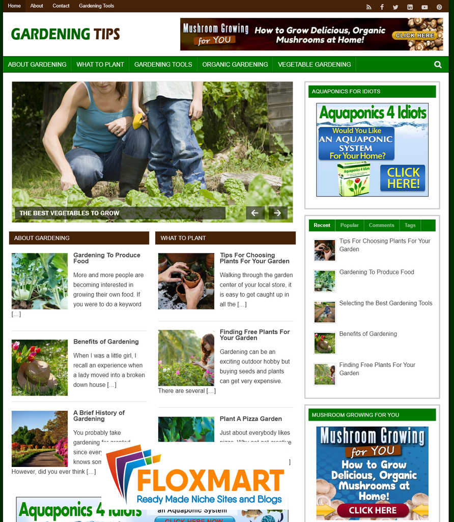 Gardening Tips PLR WordPress Blog - Floxmart
