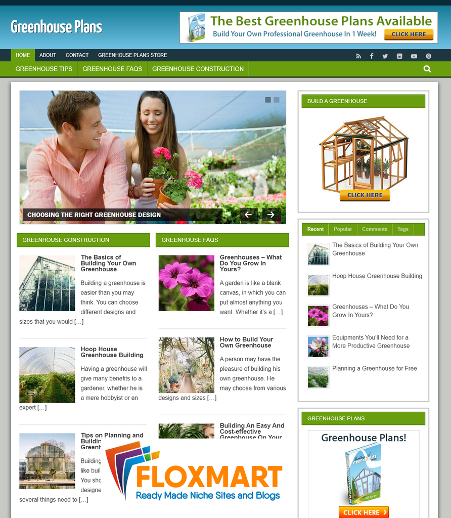 Greenhouse Plans PLR Blog - Floxmart