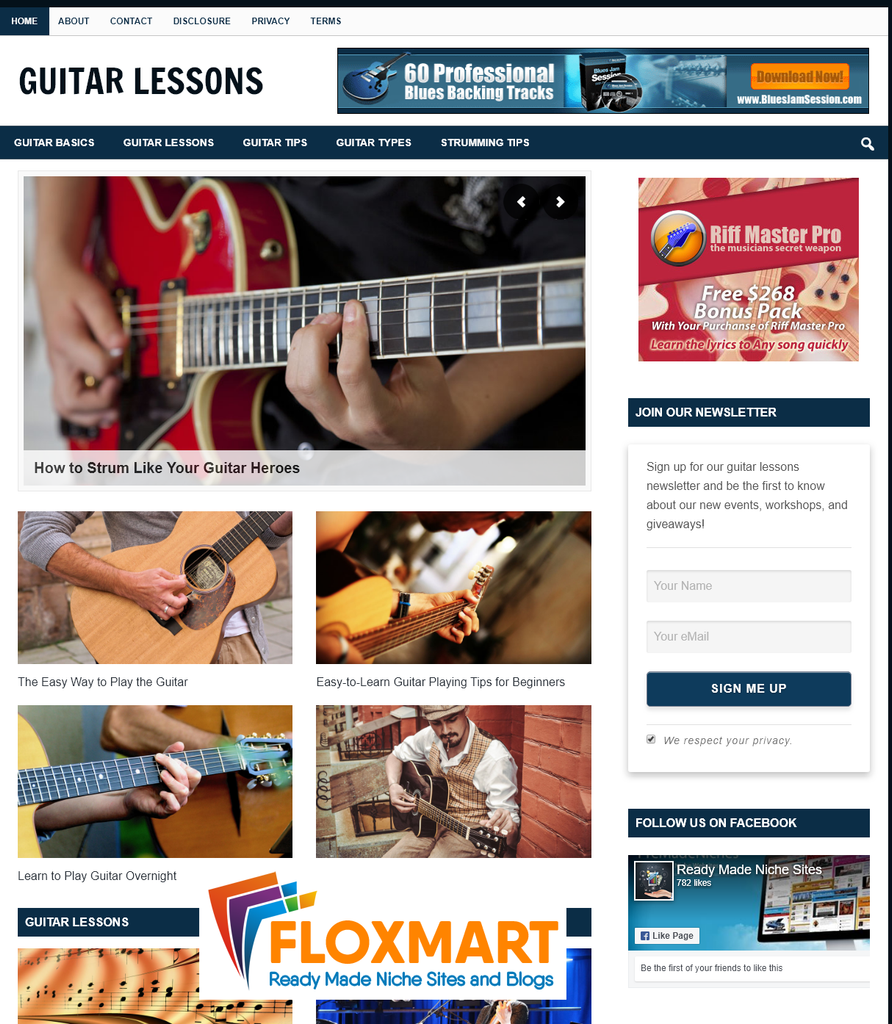 Guitar Lessons PLR Blog - Floxmart