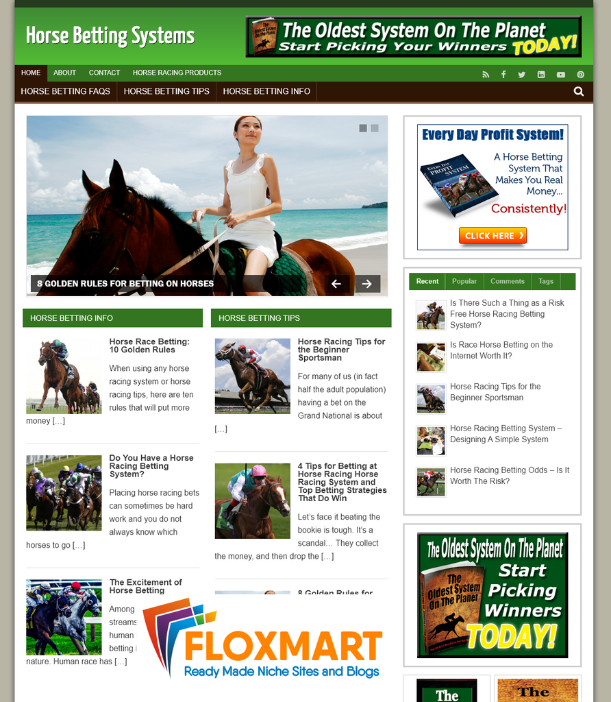 Horse Racing Affiliate PLR Website - Floxmart
