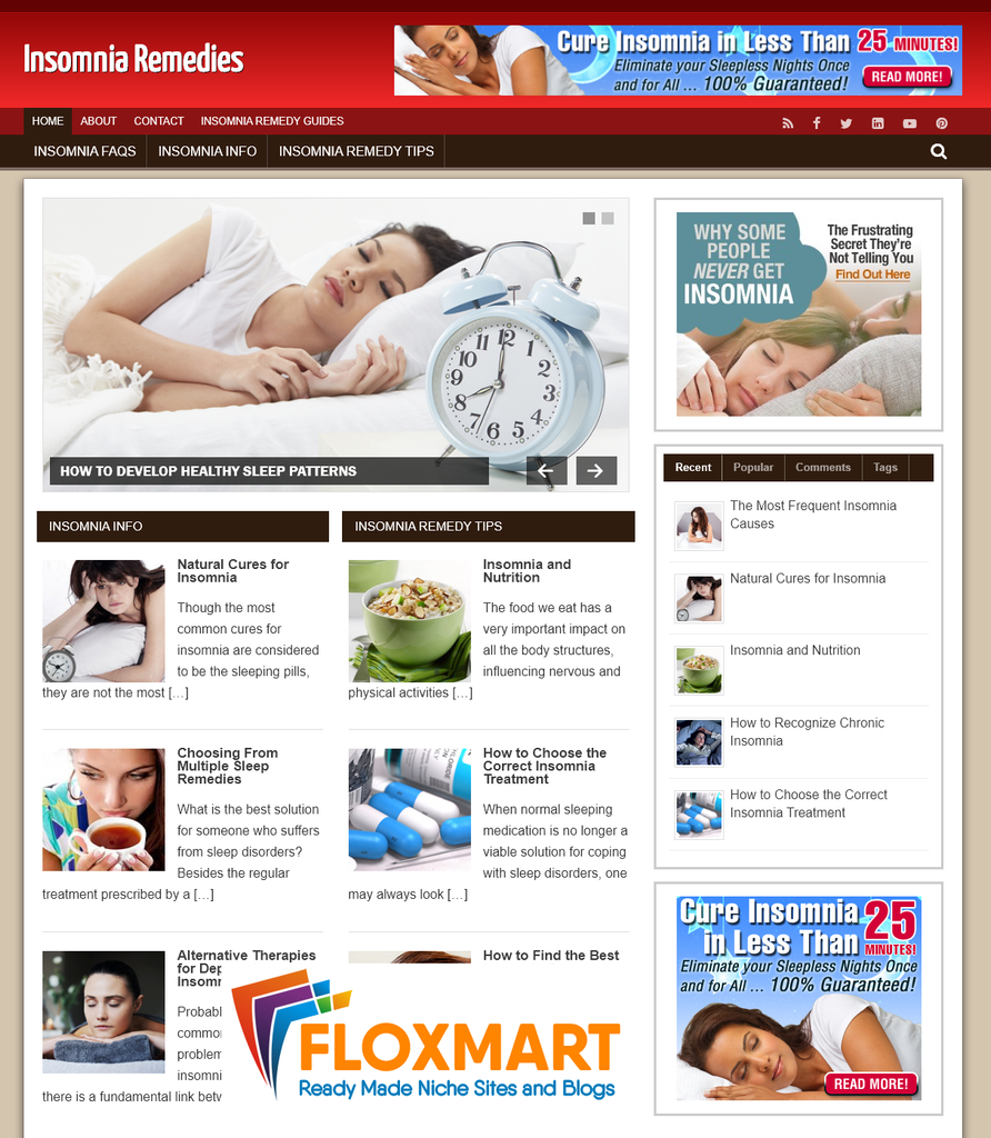 Insomnia Remedies PLR Website - Floxmart