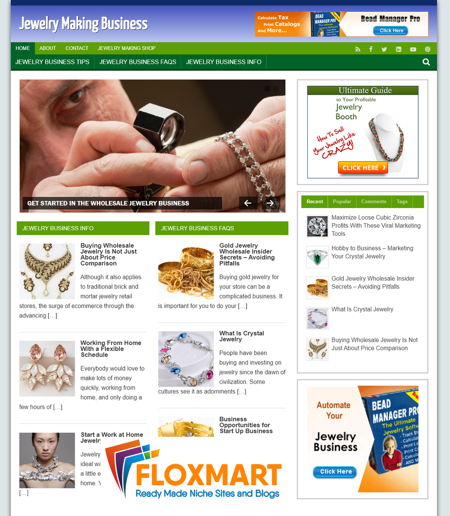 Jewelry Making Business PLR Website - Floxmart