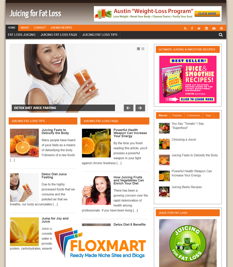 Juicing for Fat Loss PLR Website - Floxmart