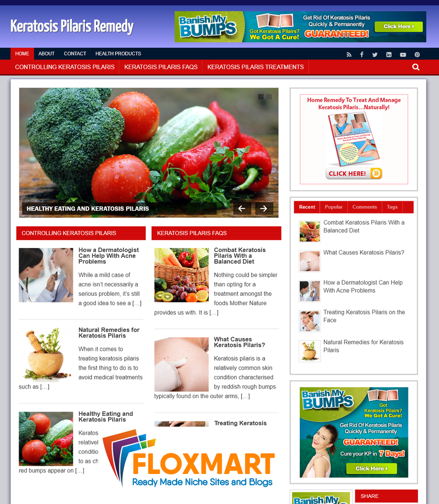 Keratosis Pilaris PLR WordPress Site - Floxmart