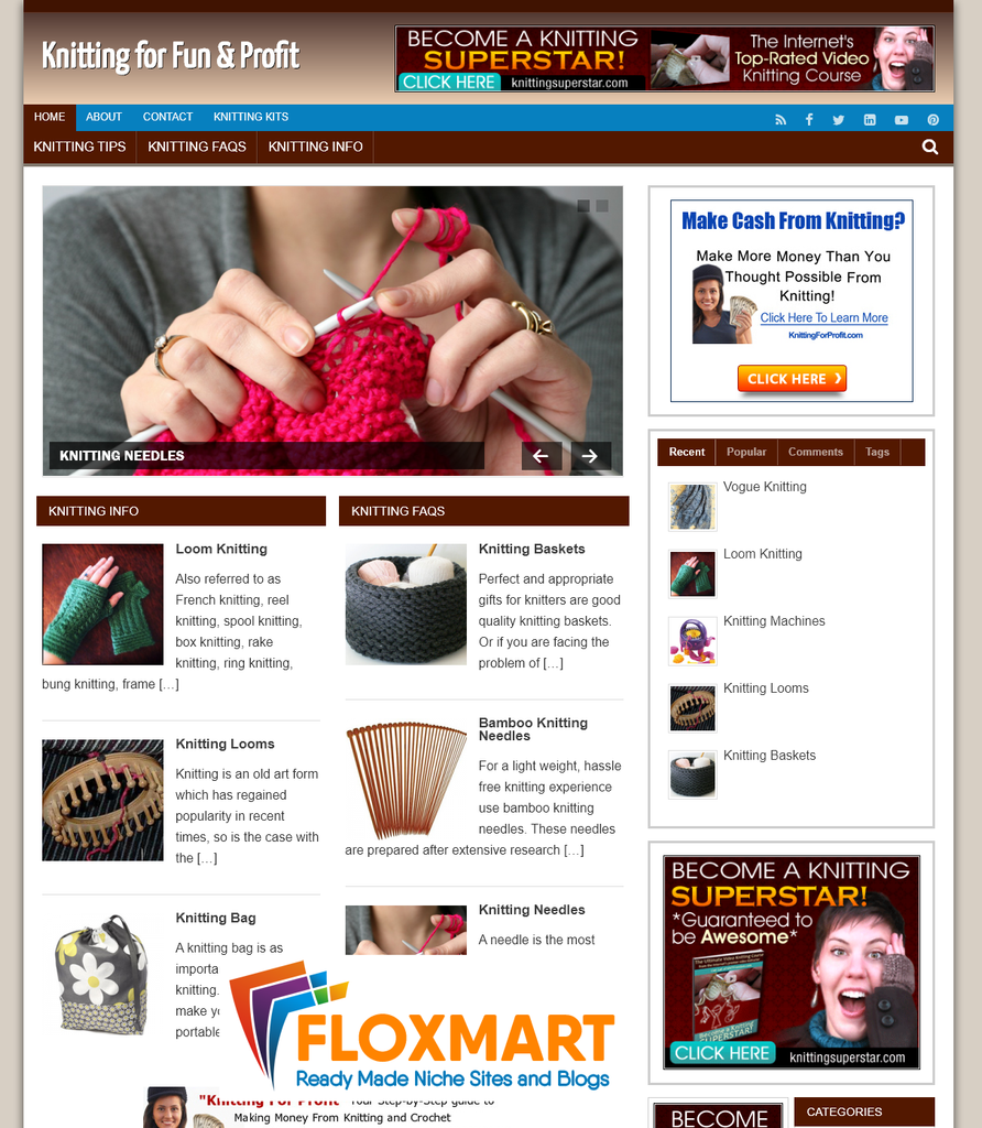 Knitting Niche PLR Turnkey Website - Floxmart