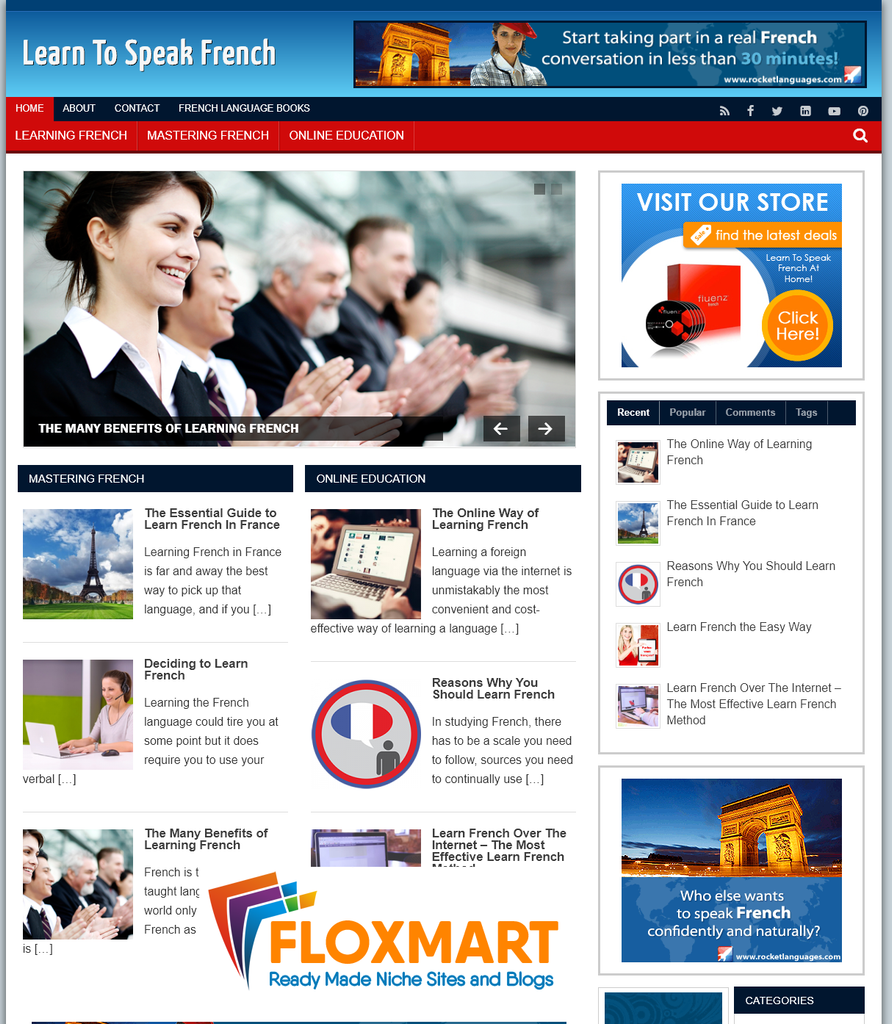 Learn French Pre Made Turnkey Site - Floxmart