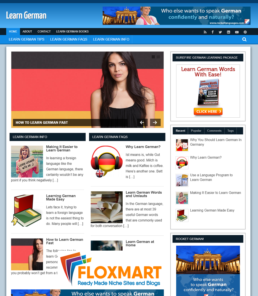 Learn German Ready Made Website - Floxmart