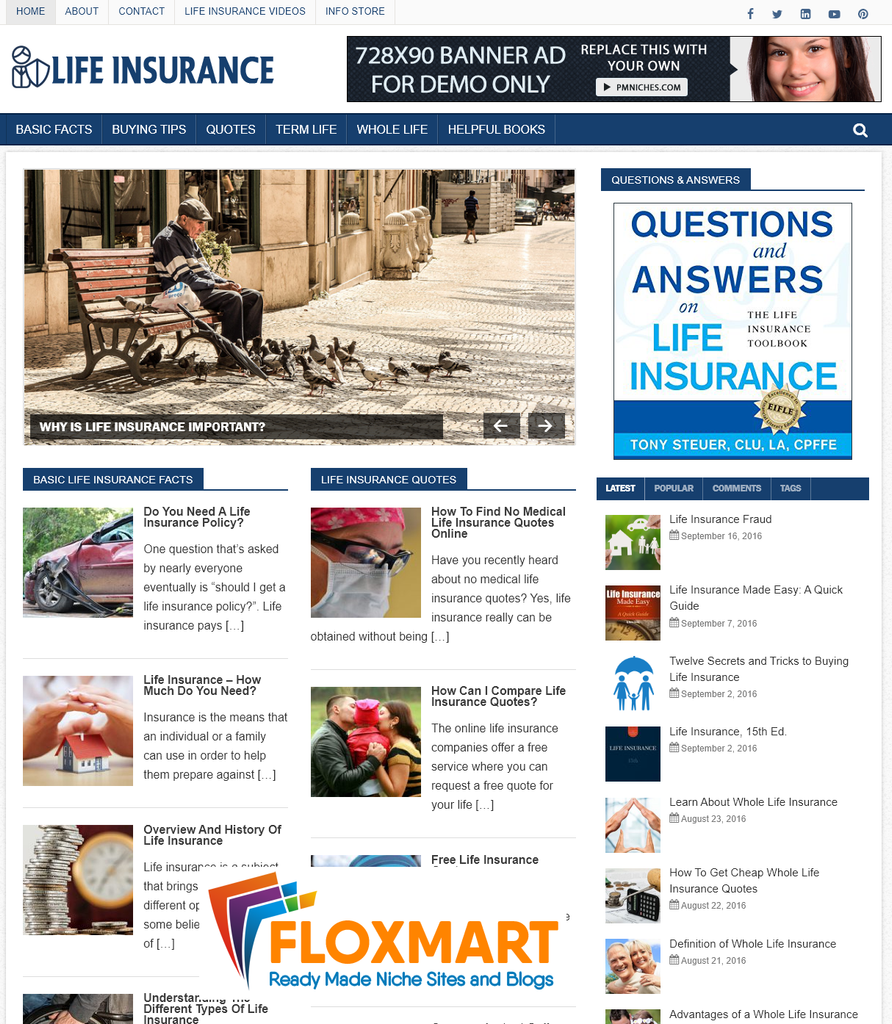 Life Insurance Ready Made Website - Floxmart