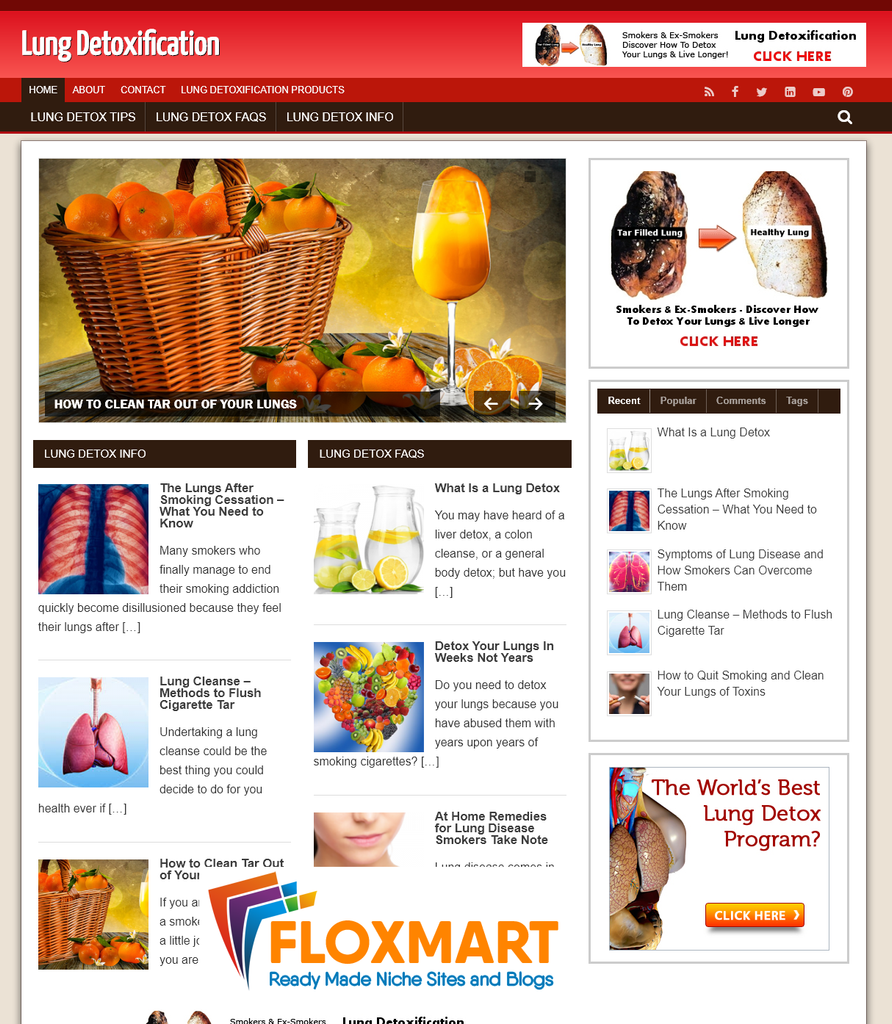 Lung Detoxification Ready Made Site - Floxmart