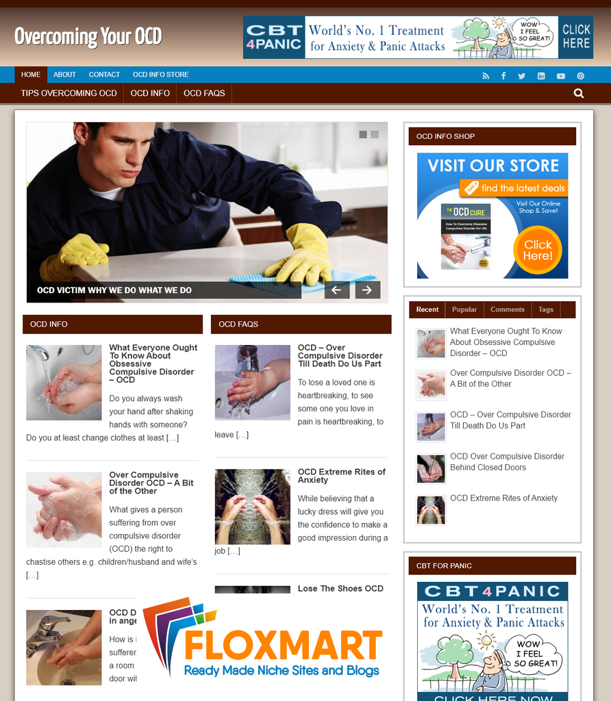 Overcoming OCD Niche Website - Floxmart