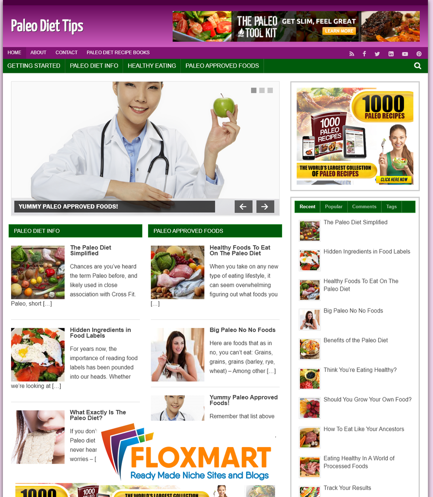 Paleo Diet Tips Turnkey PLR Site - Floxmart