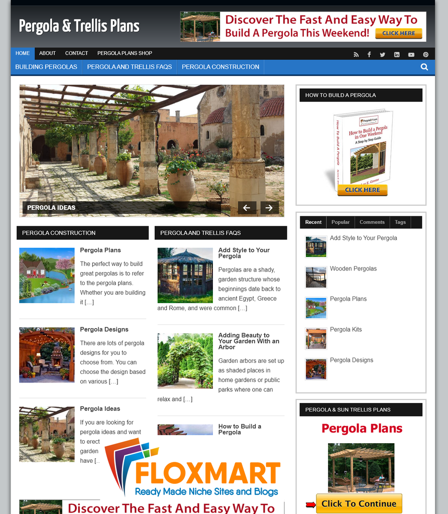 Pergola Plans PLR Website - Floxmart