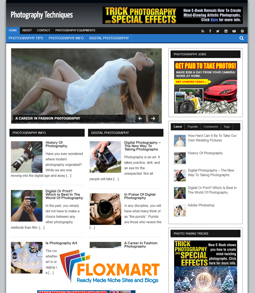 Photography Niche WordPress Blog - Floxmart