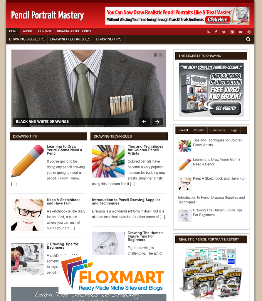 Pencil Portrait PLR Site - Floxmart