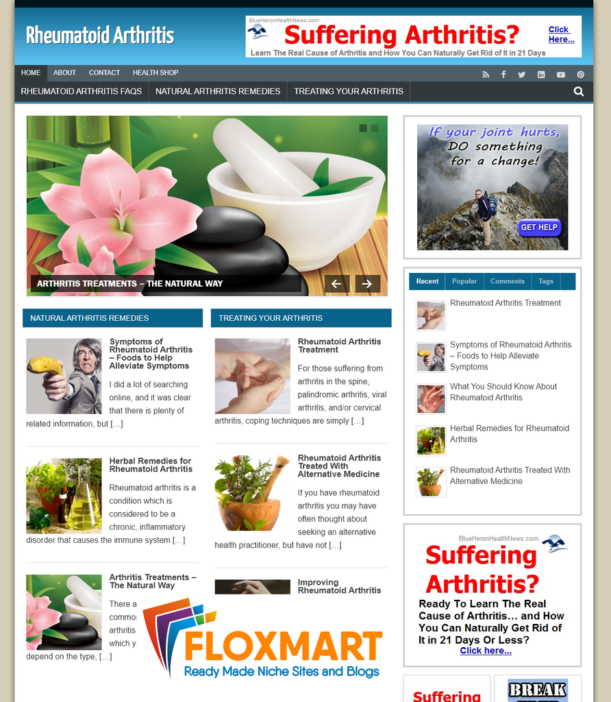 Rheumatoid Arthritis Pre Made Website - Floxmart