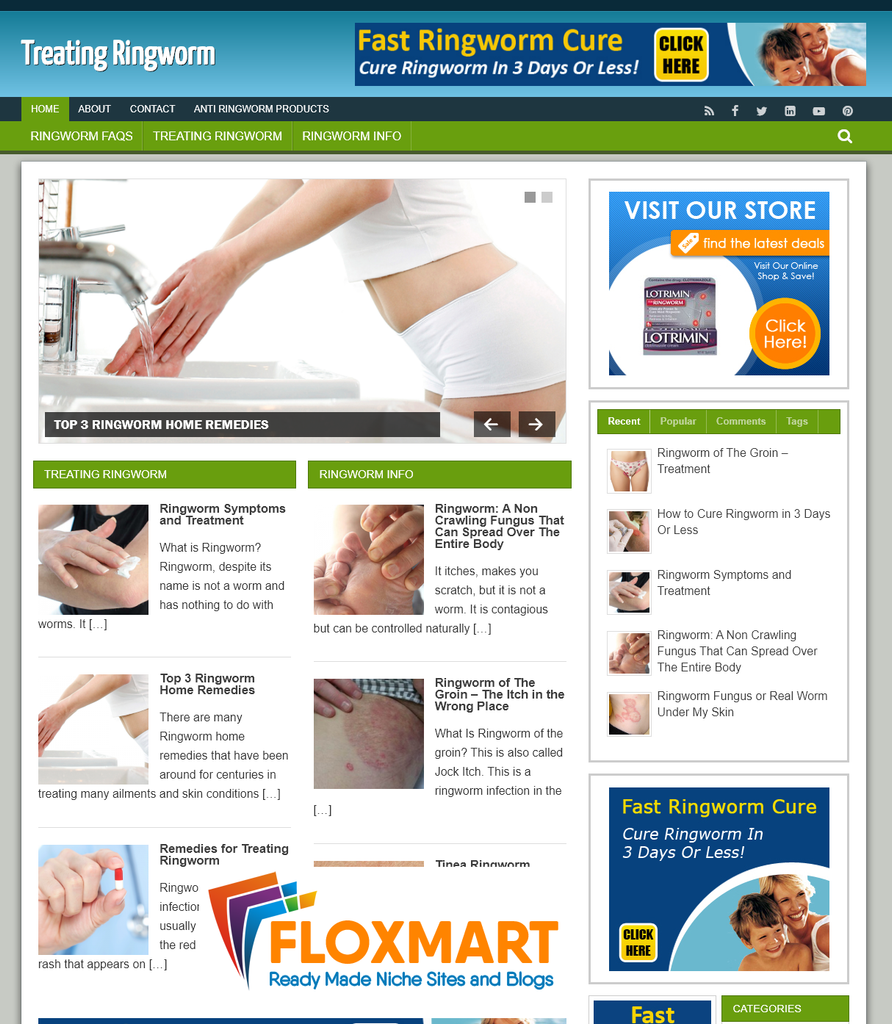 Ringworm PLR Turnkey Website - Floxmart