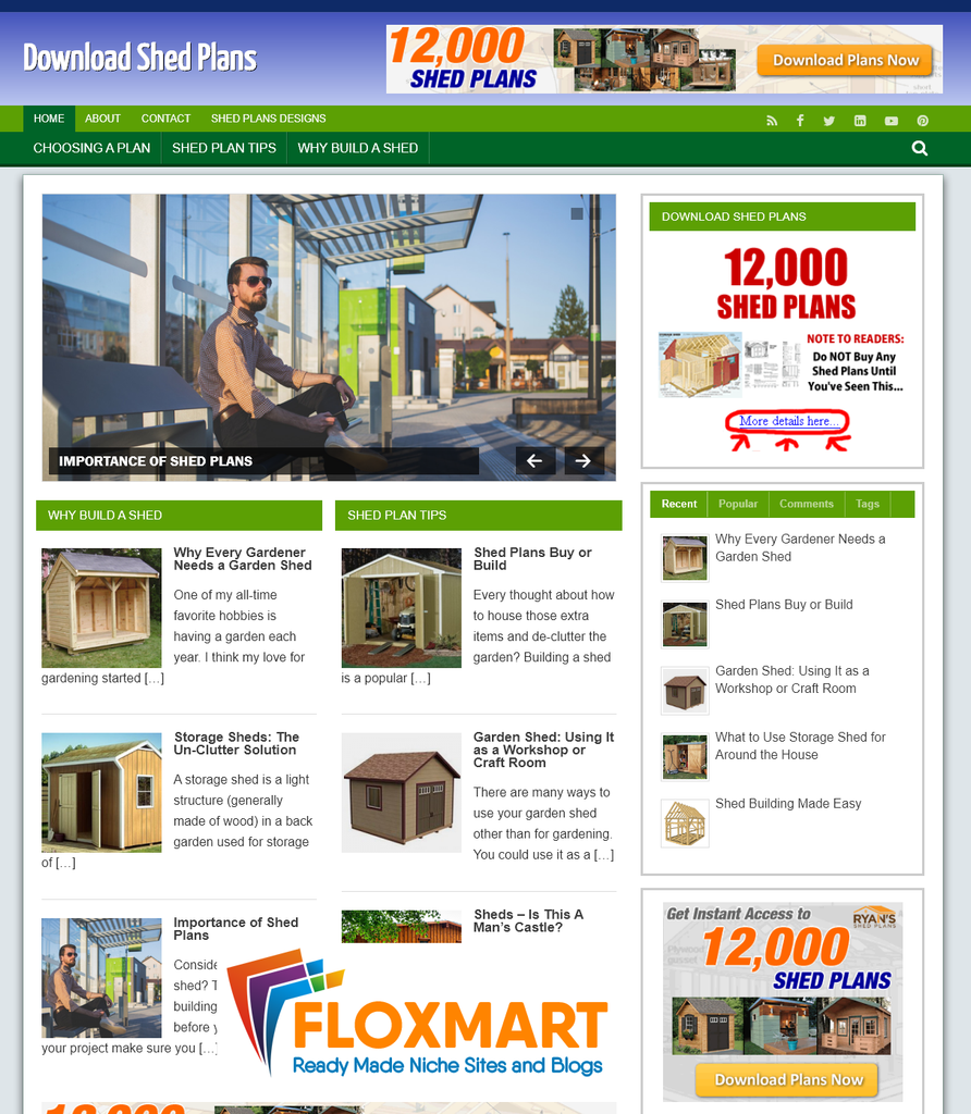 Shed Plans Ready Made WordPress Site - Floxmart