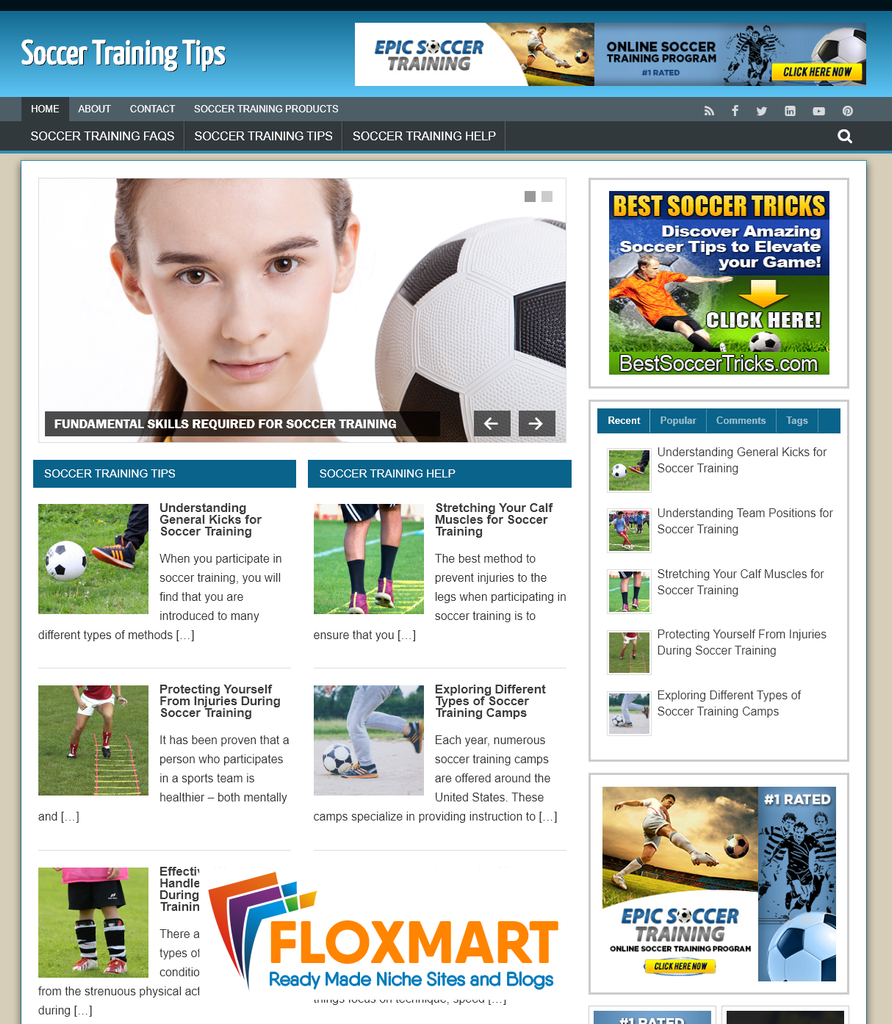 Soccer Training PLR Site - Floxmart