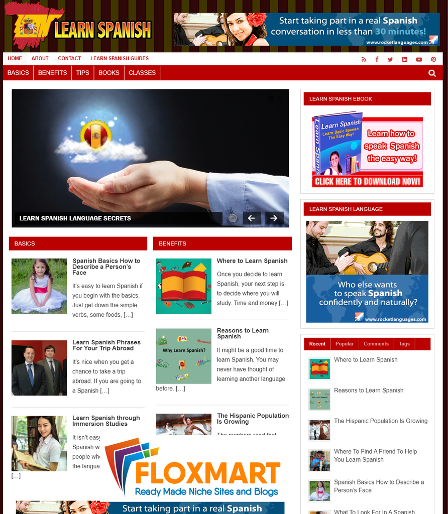 Learn Spanish PLR Turnkey Website - Floxmart