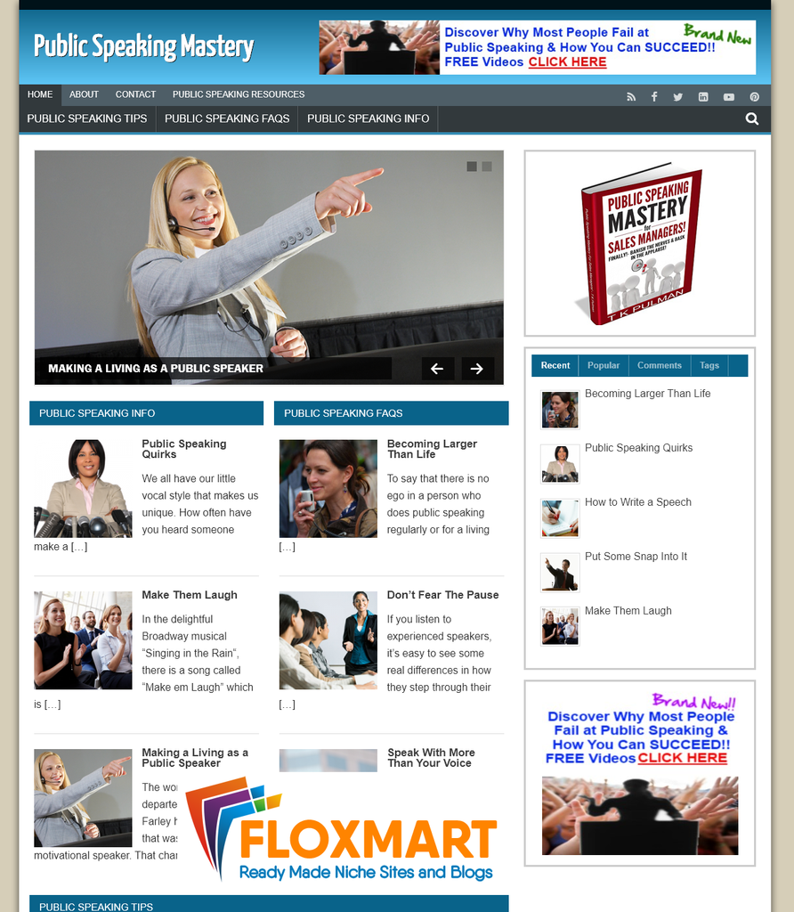 Public Speaking Custom WordPress Site - Floxmart