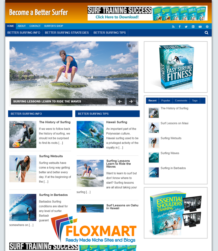Surfing Ready Made PLR Blog - Floxmart