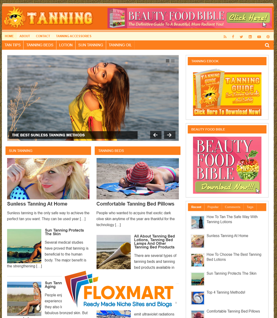 Tanning Guide PLR Website - Floxmart