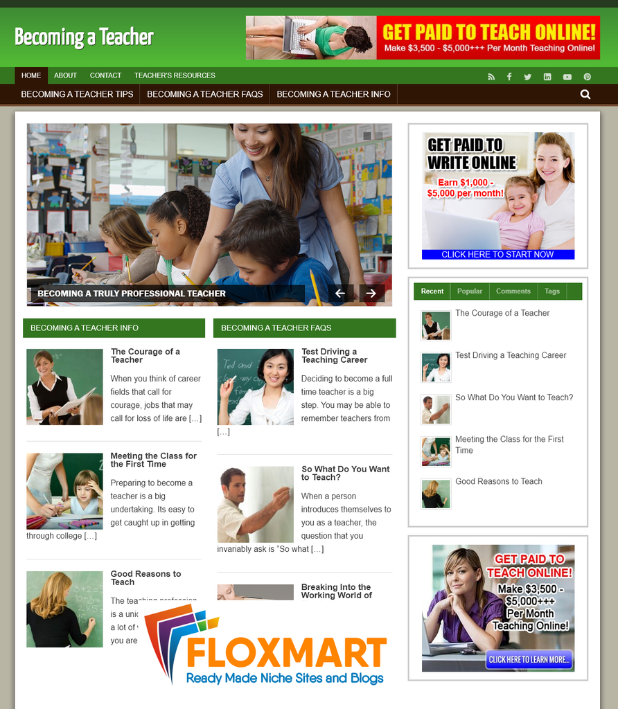 Becoming A Teacher Pre Made Blog - Floxmart