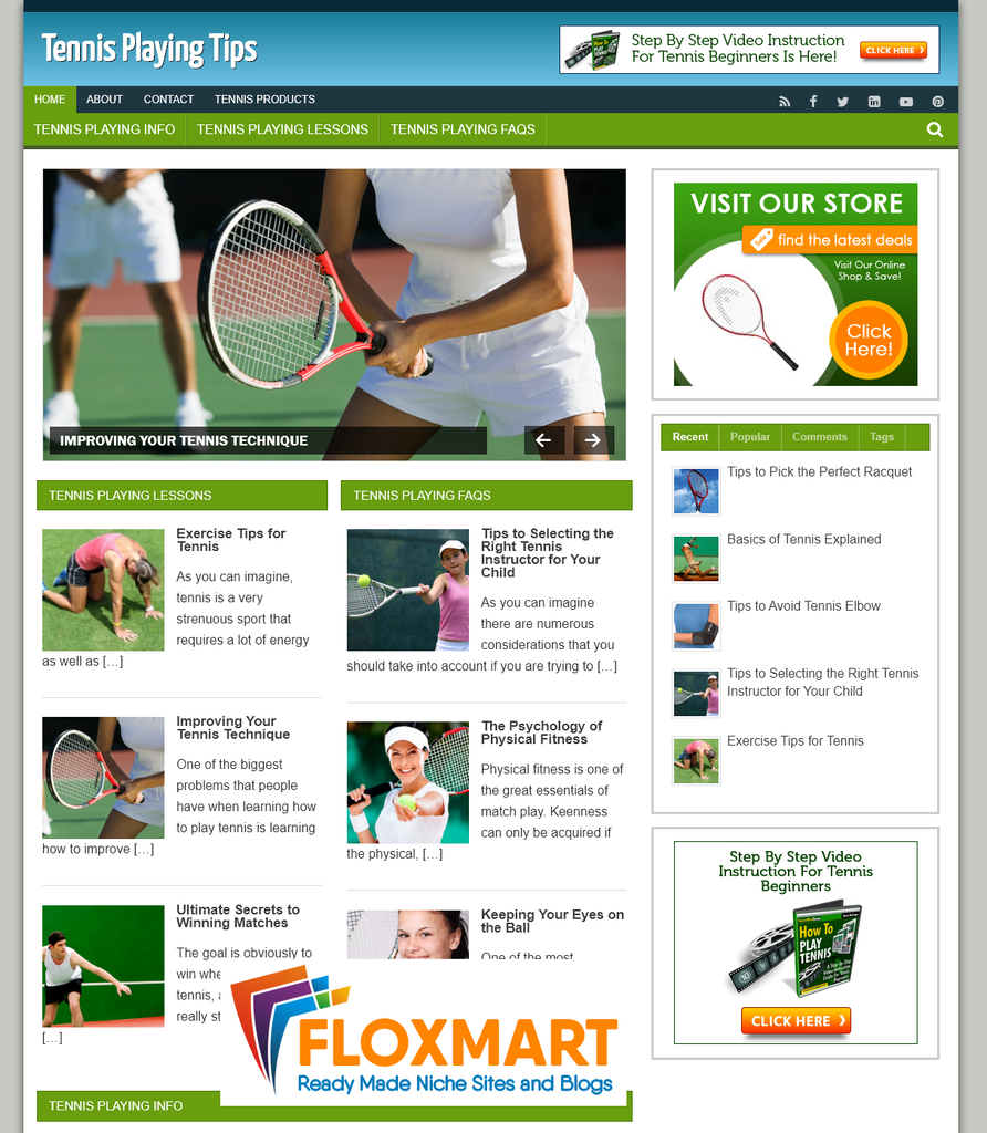 Play Tennis PLR Affiliate Site - Floxmart