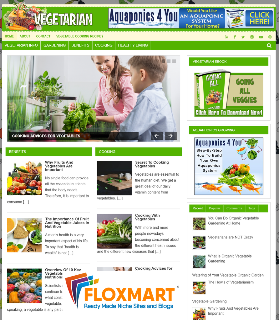 Vegetable PLR Blog with PLR eBook - Floxmart