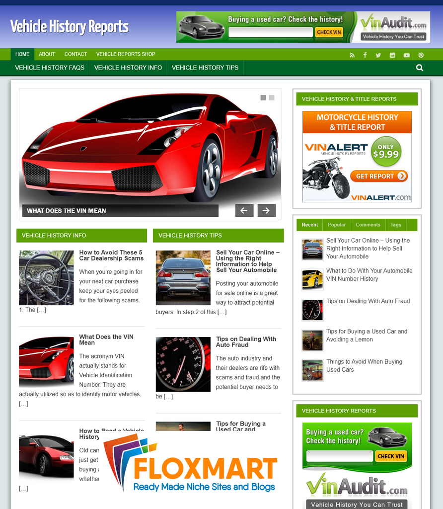 Vehicle History Ready Made Website - Floxmart