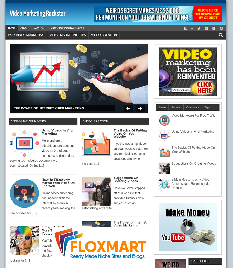 Video Marketing Pre Made Affiliate Blog - Floxmart