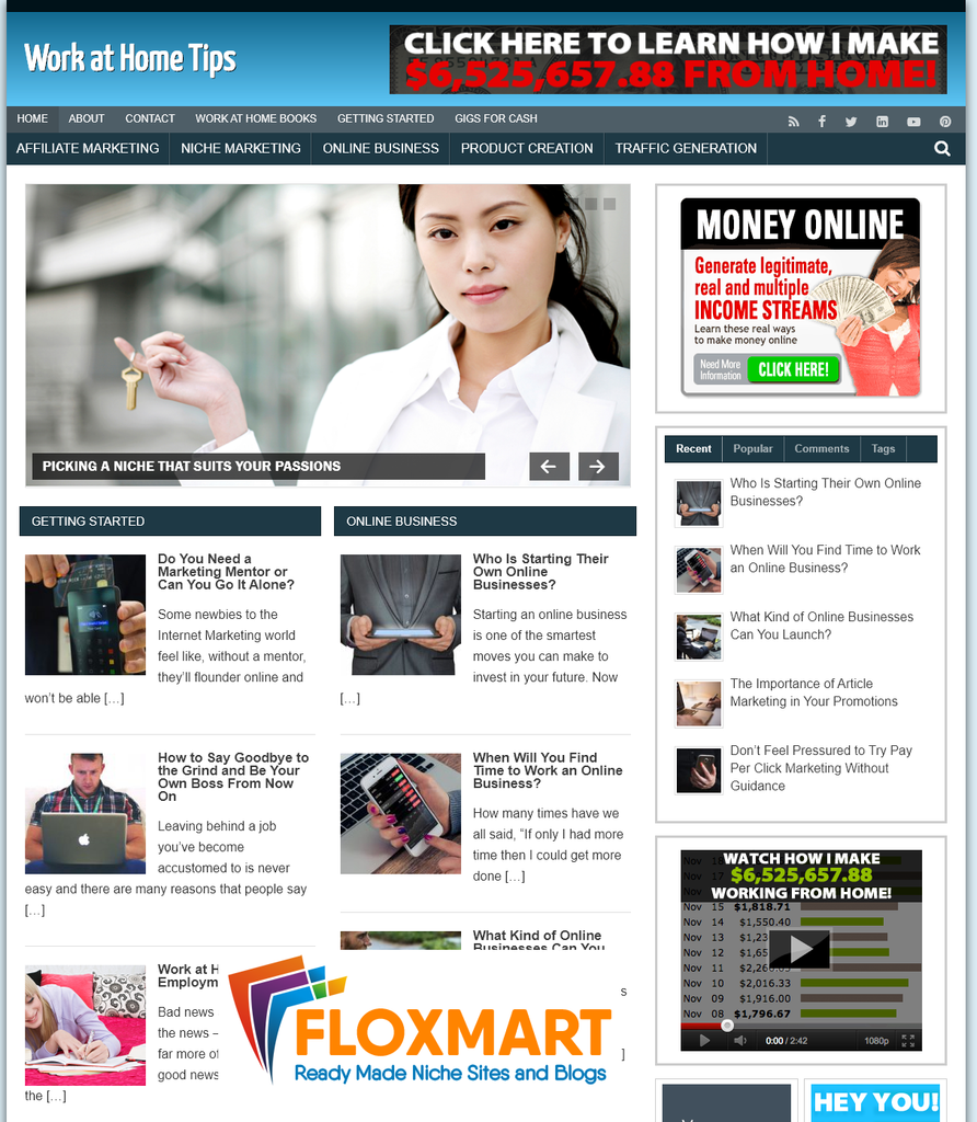 Work at Home Tips PLR Blogs - Floxmart