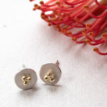 Load image into Gallery viewer, circle dot ear studs with 14k gold triple dots mezereem jewelry