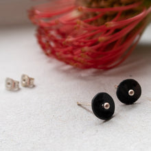 Load image into Gallery viewer, black circle dot ear studs with silver dot mezereem jewelry