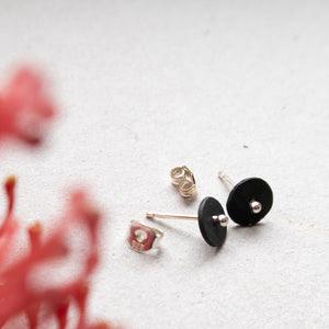 black circle dot ear studs with silver dot mezereem jewelry