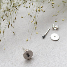 Load image into Gallery viewer, circle dot ear stud with black dot mezereem jewelry