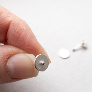 silver circle dot ear studs mezereem jewelry