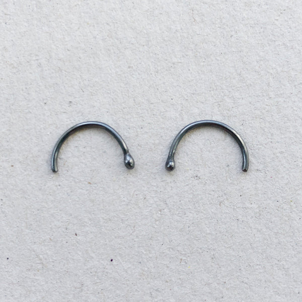 black oxidised ear loops no backing mezereem