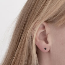 Load image into Gallery viewer, black silver triple ball earring in ear