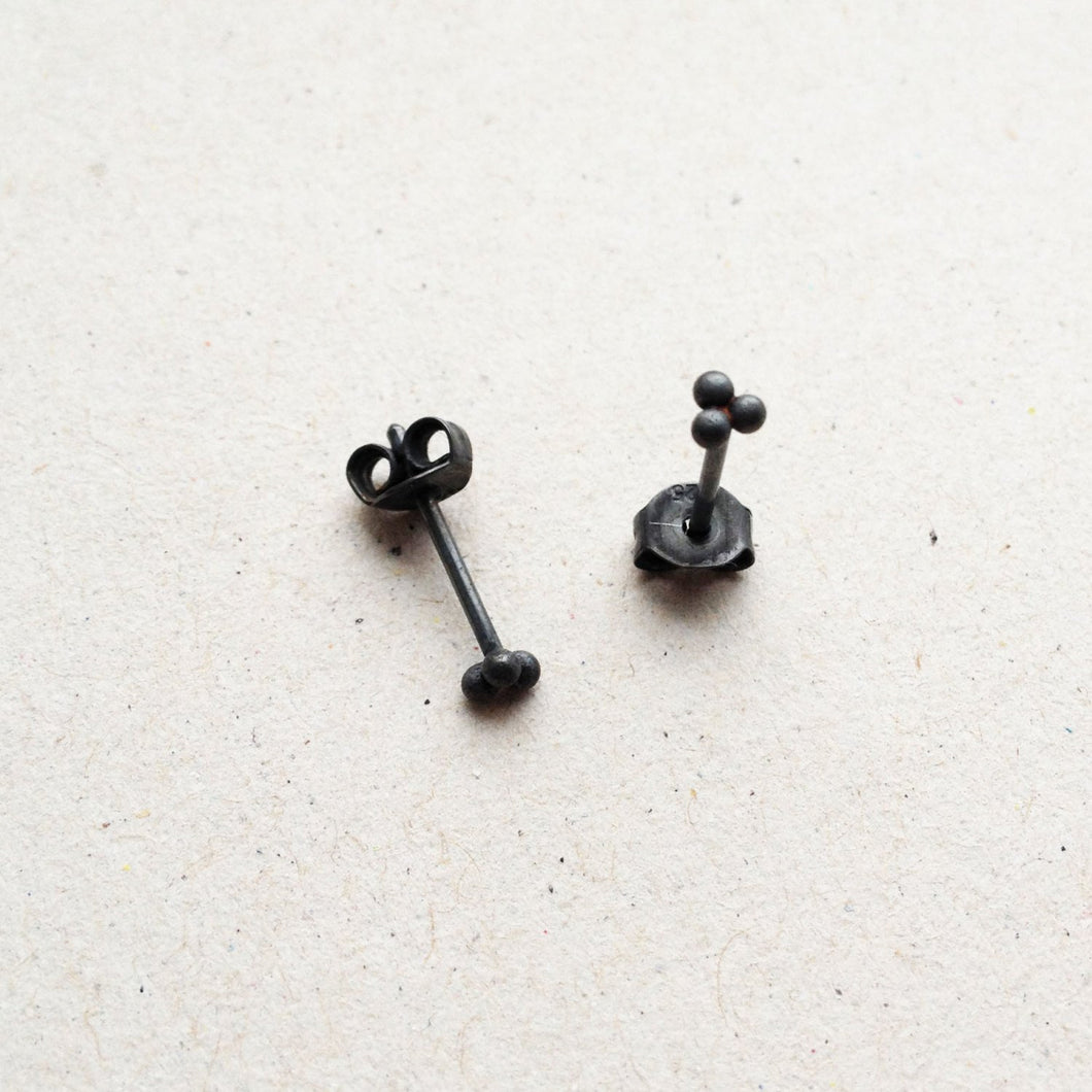 oxidised black silver ear studs mezereem jewelry