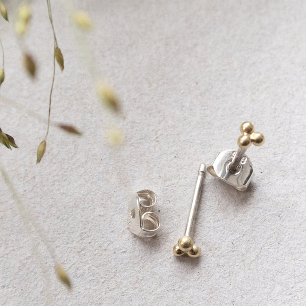golden 14k triple ball ear studs mezereem jewelry