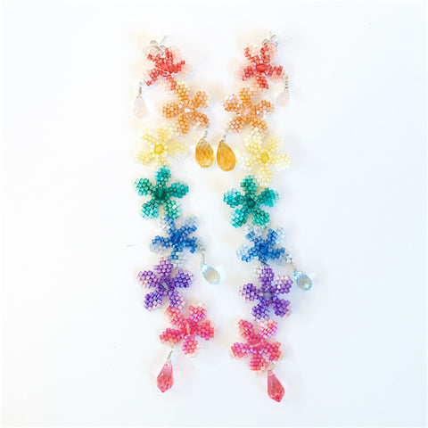 Rainbow Drop  Flower Earrings with Citrine and Aquamarine