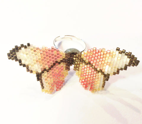 Vintage Pink Butterfly Ring
