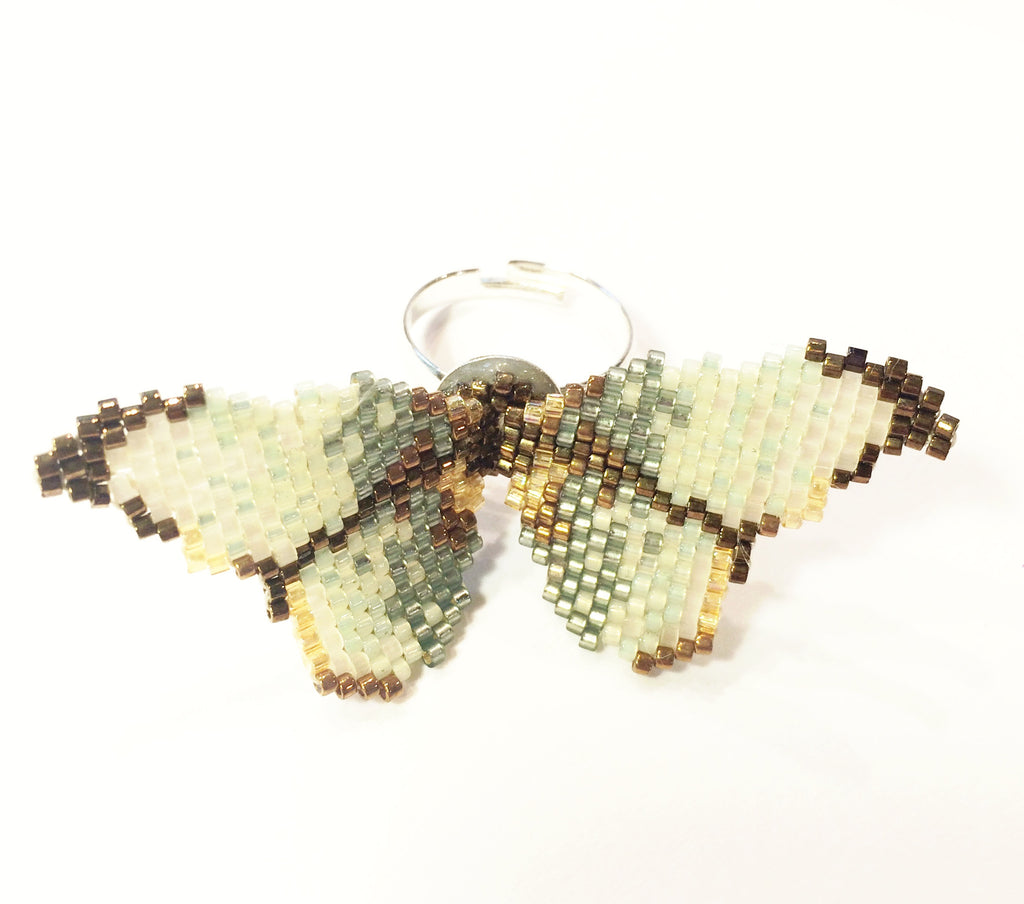 Vintage Green Butterfly Ring