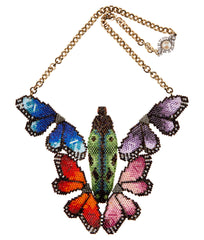 Rainbow bug necklace