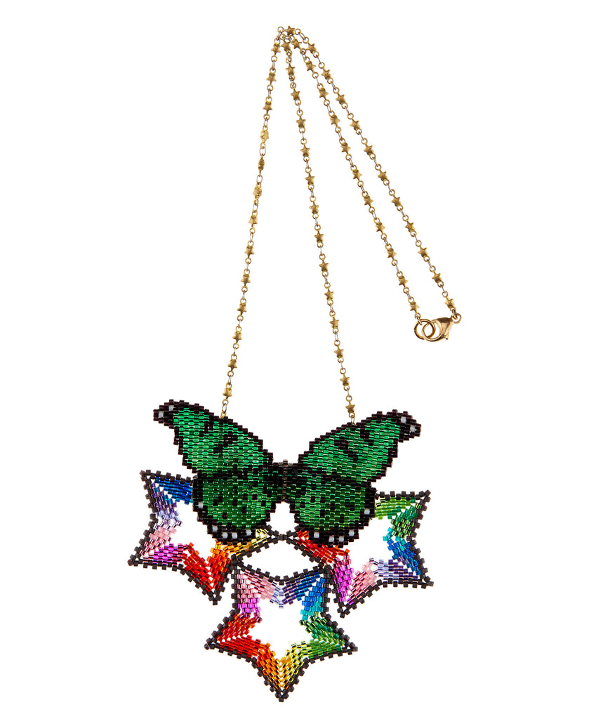 Rainbow Triple Star Necklace