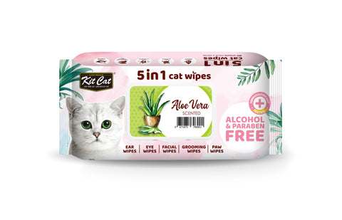 Kit Cat 5 in 1 Cat Wipes (80 pcs) - Aloe Vera