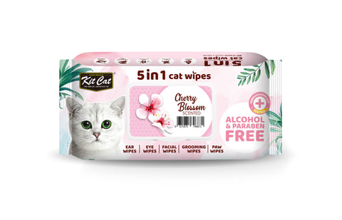 Kit Cat 5 in 1 Cat Wipes (80 pcs) - Cherry Blossom