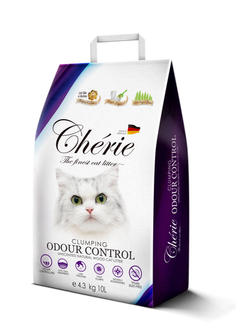 Chérie, Unscented Clumping Natural Wood Cat Litter (10L/4.3kg)
