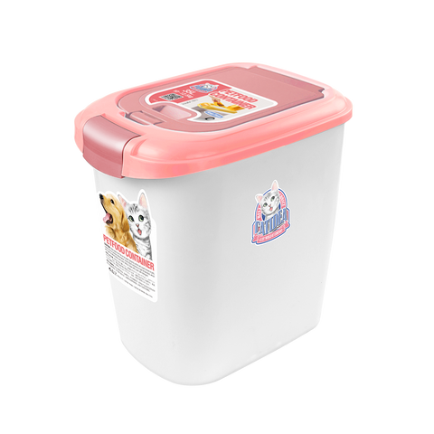 CatIdea Double Open Pet Food Container (Pink/Cream) - 5kg to 7kg